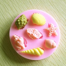 Wholesale Sugar Shaped - Silicone Moulds Seashell Conch Shape Cake Mold Silicone cookie mould Fondant handmade Candy decoration chocolate sugar Tools Pink color