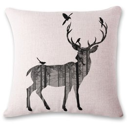 Wholesale reindeer pillows - Elk Reindeer Decoration Pillow Case Pattern Printed Decorative Pillowcase Ornament Square Cushion Cover Home Decor Sofa Gift Christmas