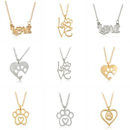 Wholesale Love Cat Necklace - Gold Silver 2 Color Love&Paw Heart Pendant Necklace Animal Pet Puppy Cat Dog Bear Footpoint Friendship Memorial Lover Christmas Gift