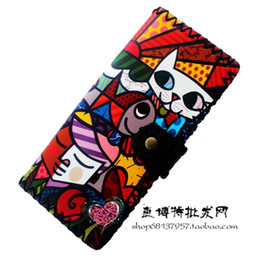 Wholesale Antique Hasp - Wholesale- Printing Cartoon cat wallets women clutch wallet, fashion female purse PU leather lady purse Antique National wind change purse