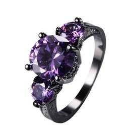 Wholesale 18k gold plated amethyst ring - JUNXIN Big Round Black Gold Purple Ring Female Ring Vintage Wedding Engagement Rings For Women Fashion Jewelry