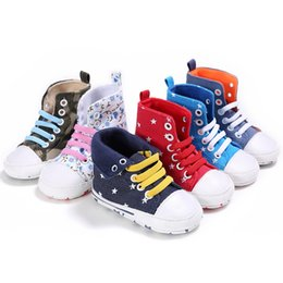 Wholesale Sole Baby Shoes Girl - Infants Cotton high-top Sneakers Baby Moccasins Soft sole lace up prewalkers anti-skip first walking shoes for toddlers boys girls 1-3T