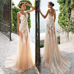 Wholesale lace see prom dresses - Marvelous Tulle & Lace Bateau Neckline See-through Sheath Prom Dress With Lace Appliques Champagne Evening Dress vestido de formatura
