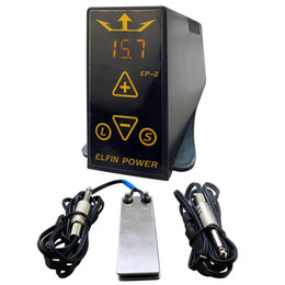 Wholesale Foot Pedal Power Switch - Wholesale-Professioanl Tattoo Power Supply Set Kit ELFIN EP-2 Tattoo Power Supply LCD Digital Foot Pedal Switch Clip Cord Tattoo Kit