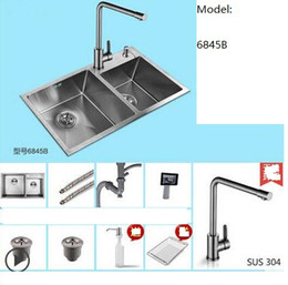 Wholesale Undermount Stainless Kitchen Sinks - Free shipping 9pcs set Brushed Stainless Steel Double Bowl Undermount Sink with Faucet kitchen Sink 6845b