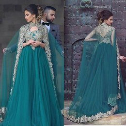 Wholesale Dress Cape Black - Newest Dark Green Muslim Prom Dresses With Long Cape Womens Special Occassion Formal Gown For Party Weddings Arabic Evening Dress