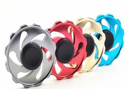 Wholesale Wholesale Hot Wheels Toys - New Arrival Round Flywheel Aluminum Fidget Spinner Hand Spinner Tri Fidget Handspinner Fire Hot Wheel EDC For Decompression Finger toys