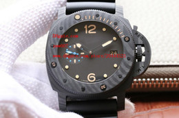 Wholesale Pam Hand - Factory Supplier Luxury AAA Brand Wristwatch Mechanical Black Pvd Fiber Date 47mm Rubber Pam 616 00616 pam616 Mens Men's Watch Watches