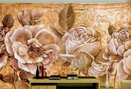 pintura a óleo Desconto Europeu retro pintados à mão pintura a óleo 3d estereoscópico melhoria home papel de parede mural rosas tv papel de parede mural para paredes