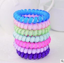 Wholesale Random Hair Styles - Middle Size Hair Scrunchie Popular Korean Candy Colored Telephone Wire Style Elastic Band Rope or Bracelet for Women 6CM Send Random
