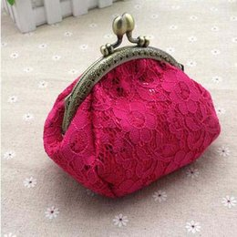 Wholesale Nail Polish Cases - New Arrival Lace Sequins Mini Wallet Vintage Elegant Coin Purses 12CM Hasp Hand-made Bags HairPin Nail Polish Case Party Gift