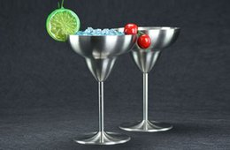 Wholesale Round Martini Glasses - Summer Promotion Cocktail Glasses Stainless Steel Wine Cup Champagne Wedding Martini Cup whiskey Goblet Cocktail Wine Cup