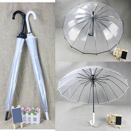 Tube fille noire en Ligne-Parapluie transparent transparent long manche, créatif soleil et pluie Parapluie Femme Filles Outils extérieurs (Noir Blanc)