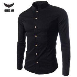 Wholesale Mandarin Collar Shirts Wholesale - Wholesale- Men Shirt Luxury Brand 2016 Male Long Sleeve Shirts Casual Collar Slim Fit Black Dress Shirts Mens Hawaiian Camisa Masculina 2
