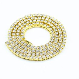 Wholesale Mens African - Hip Hop Gold Chain 1 Row Simulated bling Round Cut Tennis Necklace Chain 20 inch --30 inch Mens Punk Iced Out Rhinestone chain Necklace hot