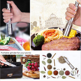 Wholesale Metal Grinding - Stainless Steel Thumb Push Salt Pepper Grinder Spice Sauce Mill Grind Stick Tool 20 PCS YYA182