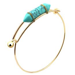 Wholesale Wholesale Jewellery Natural Stones - Fashion Bangles for Women Hexagonal Prism Natural Stone Bangle Bracelets Natural Crystal Charm Bangles Fashion Jewellery