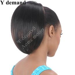 mittlere braune haare brötchen Rabatt Kurze gerade Klaue Pferdeschwanz Haarschmuck Schwarz Afro Pferdeschwanz 100% hitzebeständiges Kunsthaar für schwarze Frauen Y Nachfrage