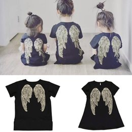 Wholesale Summer Dresses Wholesaler Drop Ship - Angel Girls Dresses Ins Cute Summer T-Shirt Girls A-line Black Dresses Fashion Toddler Kids Clothing#20170612-3 Drop Shipping