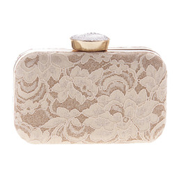 Wholesale Evening Satin Clutch Bag - Wholesale-New Women Fashion Bridal Lace Day Clutch Party Wedding Dinner Evening Bags Crystal Diamonds Bridesmaid Day Clutch Purse XA1521D
