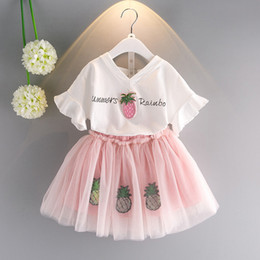 Wholesale Tutu Outfits For Baby Girls - 2017 Girl Strawberry Tees and Tutu Skirts 2pcs Sets Cute Children Baby KidsFashion Summer Outfits Clothing for Girls