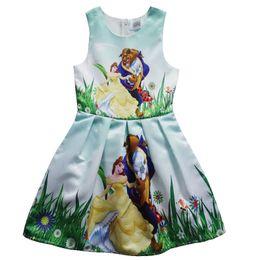 Wholesale Wholesale Girls Tutu Skirt - Beauty and the beast girls dress Sleeveless dress in summer Beauty and the beast cartoon princess skirt