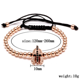 Wholesale friendship bracelet designs - Hot Sale Shiny Real Plated Brass Beads Adjustable Friendship Men Cord Bracelet With Helmet Design Top Quality And Fashion