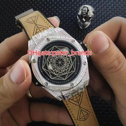 Wholesale Bang Sapphire - Full diamonds white case black dial wristwatch men size automatic big Hexagon bezel bang limited 2017 new cheap watches
