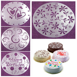 Wholesale Stencil Cakes - Wholesale- Eco Friendly High Quality 4 Styles Flower Heart Spray Stencils Birthday Cake Mold Decorating Bakery Tools DIY