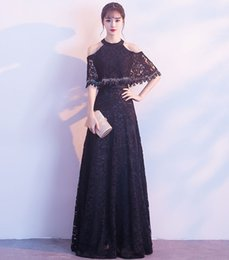 Wholesale Nude Chinese Women - Vintage Halter Beaded Lace Evening Dresses With Cape Long Black Formal Gowns 2017 Chinese Style Cheap Prom Dress Party Gowns for Women