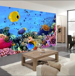 Wholesale Underwater Fish Photos - Wholesale- Custom 3d mural wallpaper Color living underwater world of tropical fish restaurant in the hotel bar backdrop 3d photo wallpaper