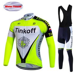 Wholesale Cycling Wear Winter Xs - 2017 Tinkoff Team Winter Fleece Cycling Jersey Set Men's Long Sleeve Ropa Ciclismo Mtb Pro Bicycle Cycling Clothing Bike Wear, Gel Pad.