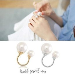 Wholesale Open Metal Ring - Adjustable Open Cuff Rings Elegant Lady Gold Silver Copper Metal Double Pearl Finger Open Rings Jewelry U Shape Double Pearl Rings Jewelry