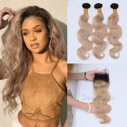 Wholesale Hair Color Roots - Doriswigs Honey Blonde 3 Bundles With 4x4 Lace Closure Brazilian Body Wave Human Hair Weave Ombre 1B 27 Dark roots