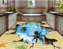 3d piso murais de parede personalizado 3d estereoscópico wallpaper foto Creative Sky auto adesivo papel de parede 3d piso banheiro à prova d 'água supplier 3d sky mural de Fornecedores de mural do céu 3d