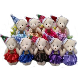 Wholesale Mini Bear Plush Toys - Wholesale- Wholesale NEW 12CM 10pcs lot pp cotton kid toys plush doll mini small teddy bear flower bouquets bear for Christmas bear toys