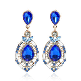 Wholesale Red Bridal Jewellery - Earrings for Women Cheap Jewellery Diamond Swarovski Crystal Stud Wedding Accessories Fashion Rhinestone Bridal Earrings Green Blue Red