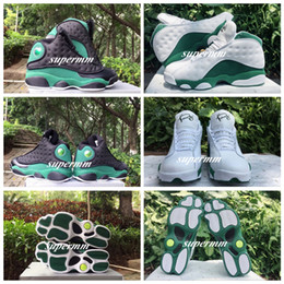 Wholesale New Men Ray - Original New 2017 Air Retro 13 Basketball Shoes for Men Sneakers Ray Allen Pe High Quality Retro XIII Balck Green White Green Color