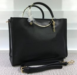 Wholesale Sholder Bag Leather - New arrivals High quality Black GST Plaid Bag Metal circle handle Real Leather Grand Shopping Tote with gold hardware Large Cerf Sholder Bag