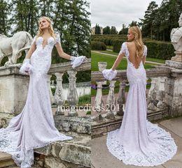 Wholesale Nurit Hen - Nurit Hen Wedding Dresses 2017 Mermaid Jewel Illusion Bodice Long Sleeves Lace Bridal Gowns Court train Vintage Garden Beach Bridal Gowns