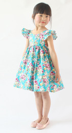 Wholesale Girl Cherries - Flutter Sleeve Dress  floral girl dress  cherry girls dress, fluffy sleeves dress 3 colors available  floral printted pattern