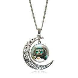 Wholesale Crystal Moons - Cheshire Cat Necklaces & Pendants Alice In Wonderland Glass Cabochon Crescent Moon Pendant Silver Chain Necklace Women Jewelry