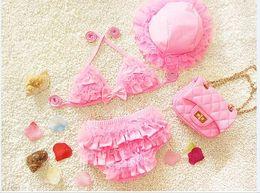 Wholesale Cute Baby Swimwear - 2017 Infant Bikini Swimwear Baby Girl Cute Three Piece South Korea Small Medium Large Sleeve Children Swimwear