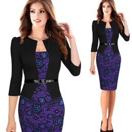 Wholesale Womens Office Jacket - Womens Elegant Vintage 3 4 Sleeve Faux Jacket One-Piece Pinted Contrast Work Office Business Party Bodycon Pencil Dress