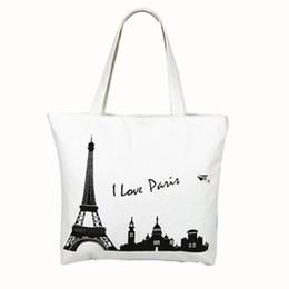 Wholesale House Shops - Mint Canvas Tower House Pattern Shopping Shoulder Bags Women Handbag Beach