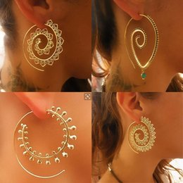 Wholesale Brass Plated Wire - Four Styles Vintage Bohemian Earring Hoops Thin Wire Piercing Hoops Double Rings Fashion Earring Jewelry For Ladies