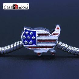 Wholesale Wholesale Jewelry 925 Usa - Wholesale-925 Plated USA American Flag Shape Fit Bracelet Charm DIY Enamel Bead Jewelry Making Pingente Berloque