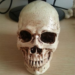 Wholesale Mask Human - Wholesale-P-Flame small skull New Halloween decoration props realistic a terrorist than a human skull resin skull ornament