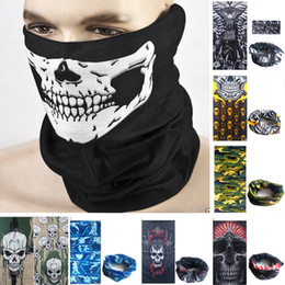Wholesale Holloween Masks - Skull Face Mask Holloween party mask sports cycling motorcycle ski half face mask magic scarf mutifunction neckerchief