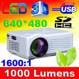 sintonizador hdmi lcd tv Rebajas Al por mayor-White color HD Mini proyector pico proyector multimedia 1000Lumen lcd led micro beamer lámpara led 50,000hrs con sintonizador de TV HDMI USB